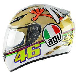 Capacete-AGV-K-3-Rossi-The-Chicken-Branco-Dourado