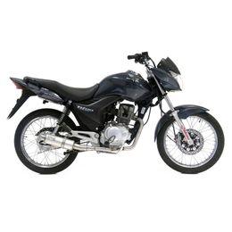 Escapamento-Completo-Titan-150---FAN-125-2009-ate-2013-1x1-GP-CORSA---Aluminio---Leovince---3264