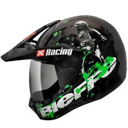 Capacete-Bieffe-3-Sport-Xracing-Cinza-Verde-Fosco