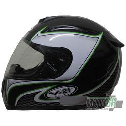 Capacete-V-21-Helmets-Preto-Faixa-Quadriculada-Detalhe-Verde
