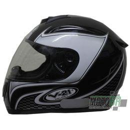 Capacete-V-21-Helmets-Preto-Faixa-Quadriculada-Detalhe-Branco