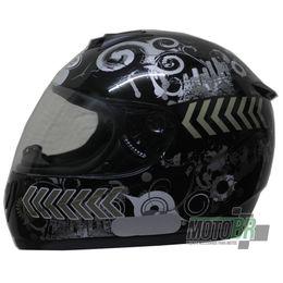 Capacete-V-21-Helmets-Preto-Grafismo-Cidade-Faixa-Lateral-Dourada