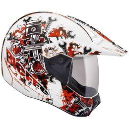 Capacete-Bieffe-3-Sport-Mechanic-Branco-Vermelho