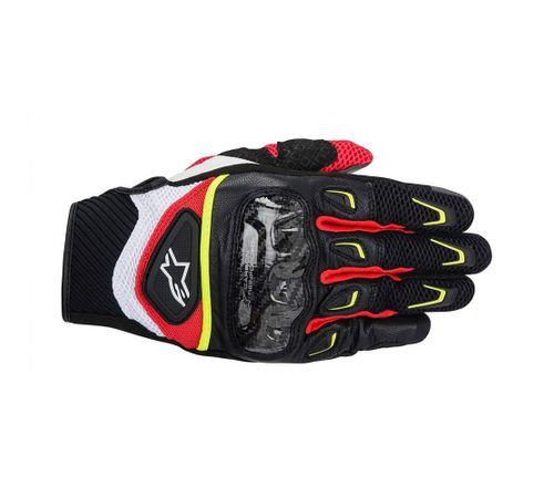 Luva-Alpinestars-SMX-2-Air-Carbon-2014-Preto-Branco-Amarelo-Vermelho
