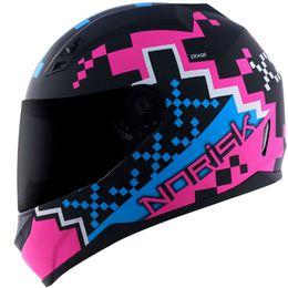 Capacete-Norisk-FF391-Pixel-Fosco-Preto-Azul-Rosa-5