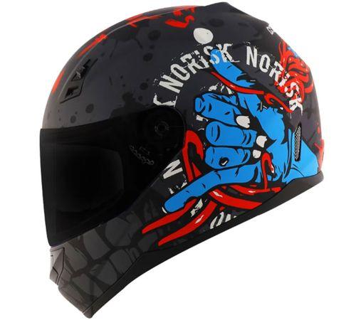 Capacete-Norisk-FF391-Zombie-Titanium-Azul-Vermelho-Fosco-1